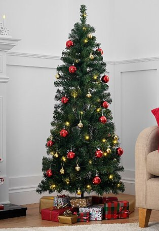 Artificial Christmas tree decorated with red and gold baubles and warm white twinkle lights, surrounded by wrapped presents.