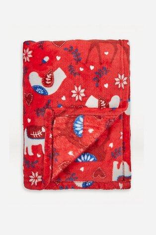 Festive red blanket.