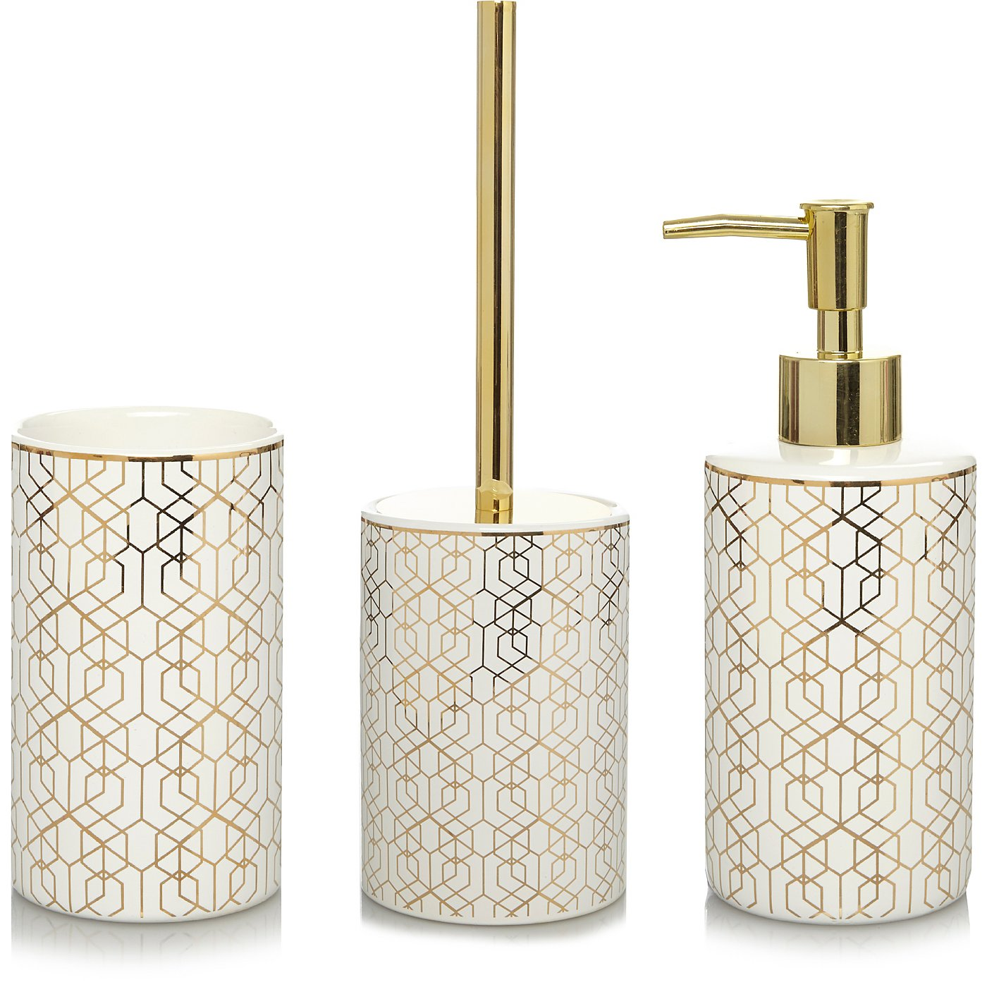 gold geometric bathroom accessories range loading zoom