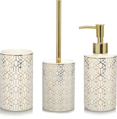 Gold Geometric Bathroom Accessories Range