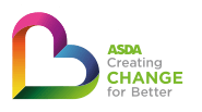 A rainbow heart icon with the ocean in the background and text saying 'Asda Creating change for Better'