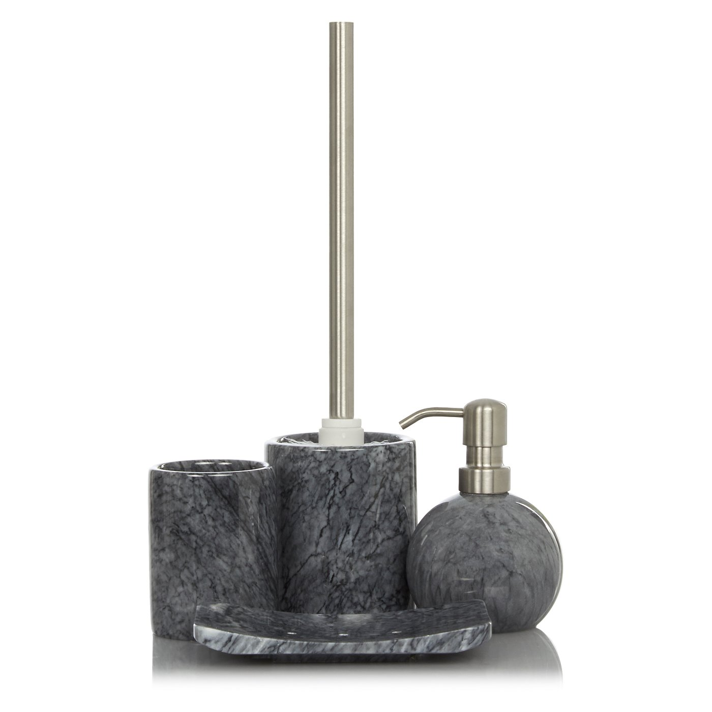 The best 100 grey marble bathroom accessories image for Grey and white bathroom accessories