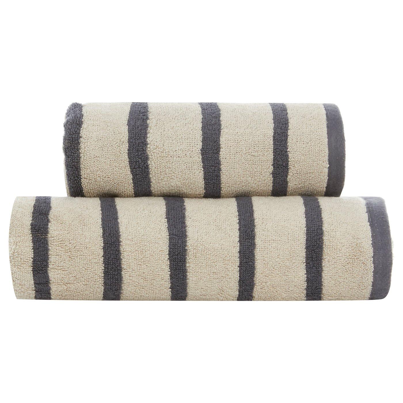 George Home 100% Cotton Towel Range - Grey Stripe. Loading zoom