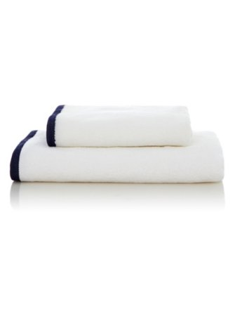 George Home 100% Cotton Towel Range - White & Blue Border