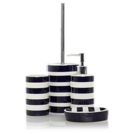 George Home Blue Rugby Stripe Bathroom Accessories