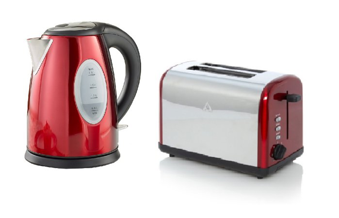 George Home Fast Boil Kettle & Toaster Range - Red