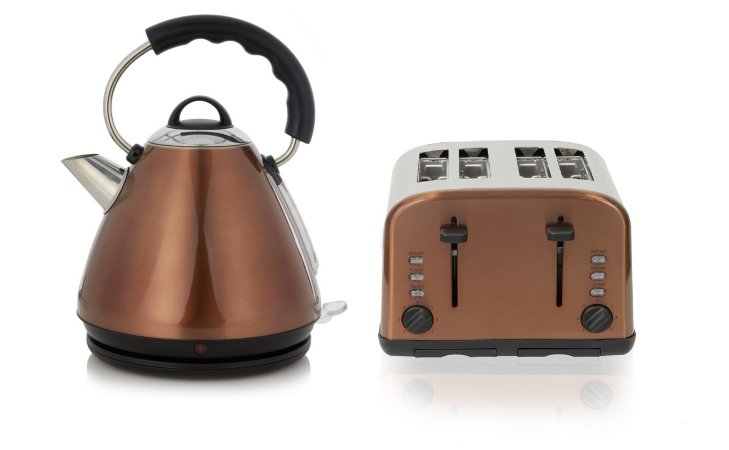 George Home Pyramid Kettle & 4 Slice Toaster Range - Copper