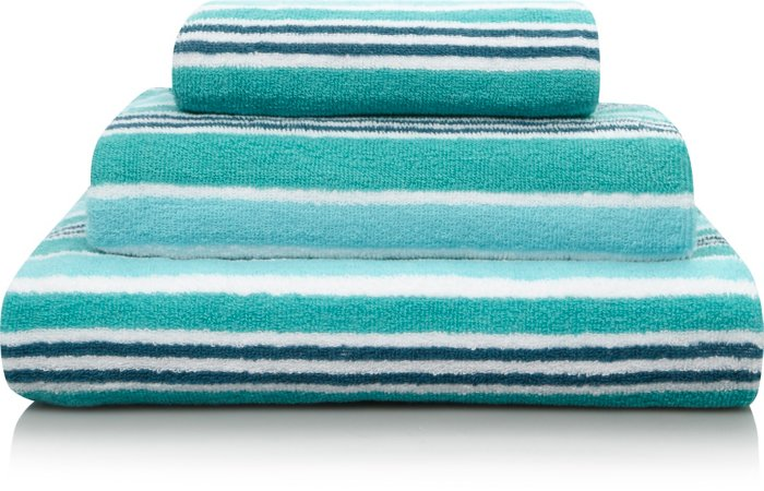 100% Cotton Green Striped Towel Range
