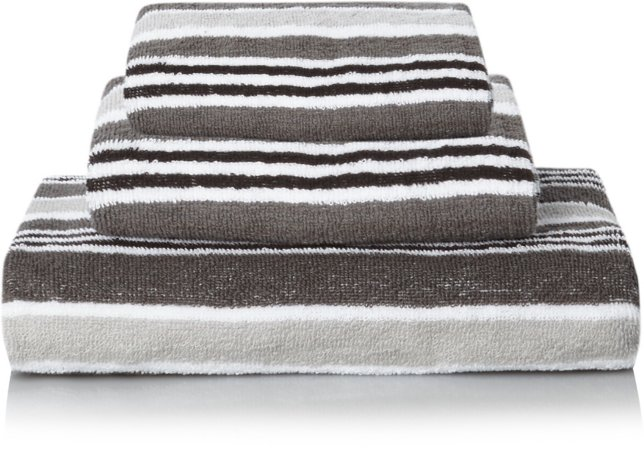 100% Cotton Grey Striped Towel Range