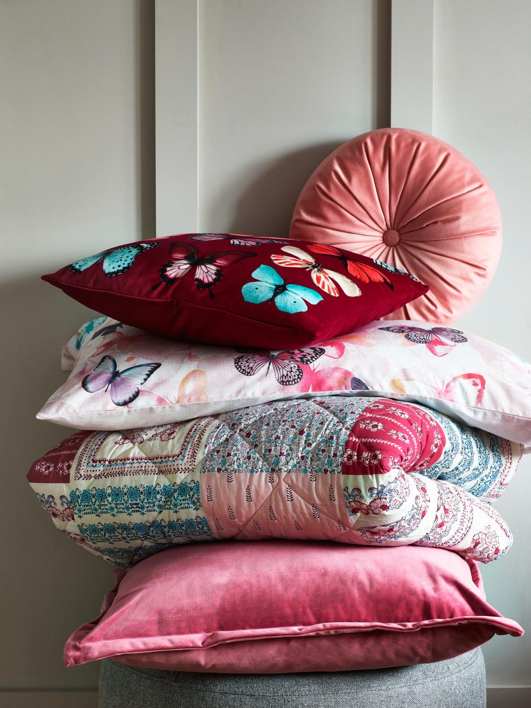 Pink Butterflies Bedroom Cushion & Throw Range Cushions