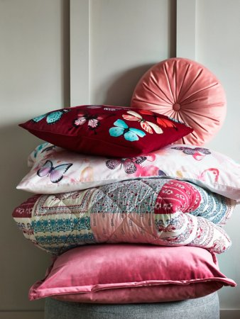 Pink Butterflies Bedroom Cushion & Throw Range
