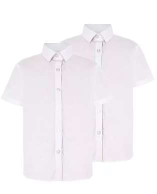 A 2 pack of white short sleeved school shirts