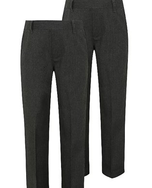 Two styles of black school trousers