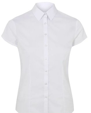 A white short sleeve school blouse