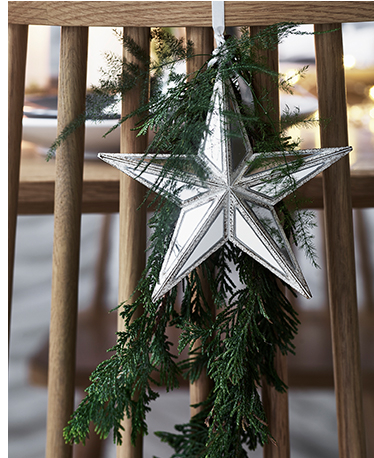 A silver star Christmas ornament