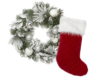 A Christmas wreath and stocking