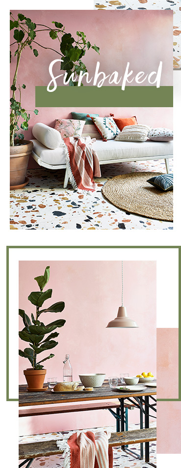 Introducing Sunbaked, where beautiful patterns and prints give your home a strong summery look