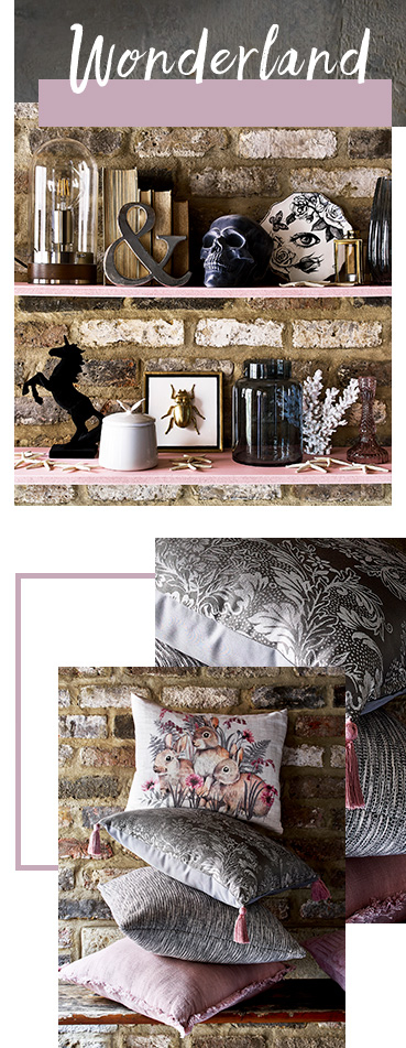 The darker colour scheme combined with faded florals and accessories creates an air of intrigue and mystery