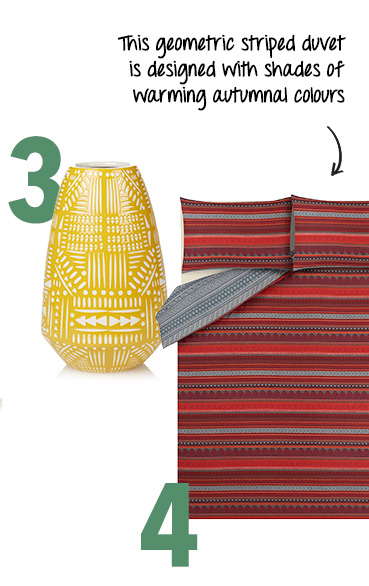 Relax with soothing patterned bedding and accessories