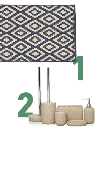Sandstone-effect accessories and aztec-style bath mats are stylish and soothing