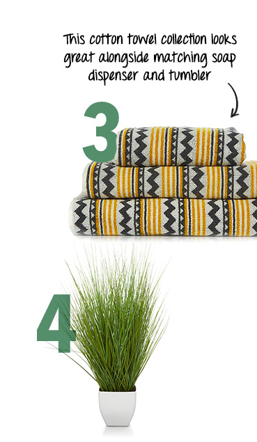 Keep things fresh with greenery and quirky towels