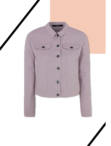 Be pretty in pastels in this lilac denim jacket with twin chest pockets