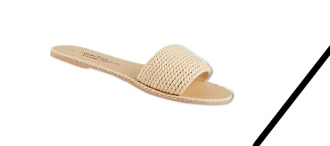 This pair of cream braided sandals has a textured design with a large front strap