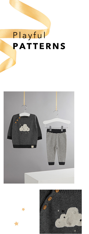 Shop cloud-themed jumper and stripy bottoms