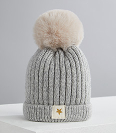 Shop grey knitted pom pom hat