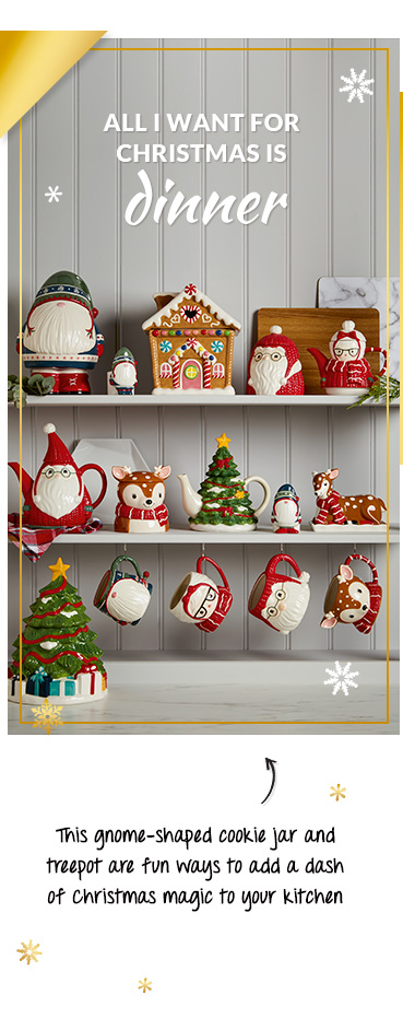 Our novelty kitchen range includes a Santa-shaped teapot and accompanying mugs