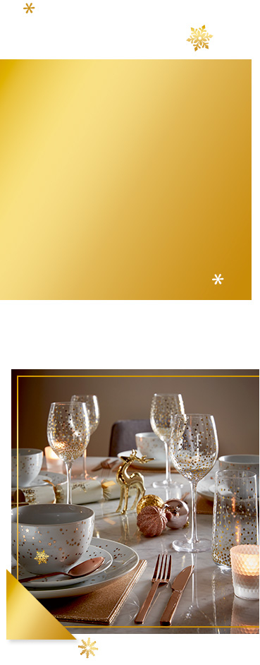 Add a touch of class to your kitchen this December with our elegant gold effect dining range