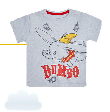 This grey T-shirt is designed with Dumbo flying with Timothy Q. Mouse