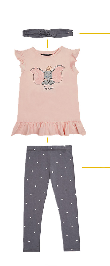 Dress her in this cute Dumbo outfit, complete with pink top and grey bottoms