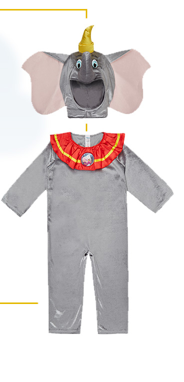 This Disney Dumbo fancy dress costume has a padded hat with ginormous ears