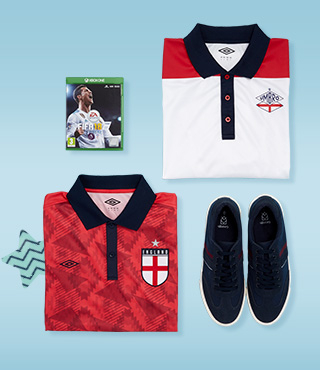 Kit him out with the latest sports gear and football t-shirts