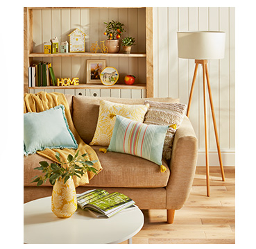 Enhance the living room with soft pastel-coloured cushions