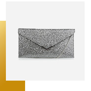 This glittery clutch bag will perfectly complement your outfit