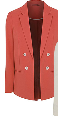 Complete your layered look with this coral woven tailored blazer