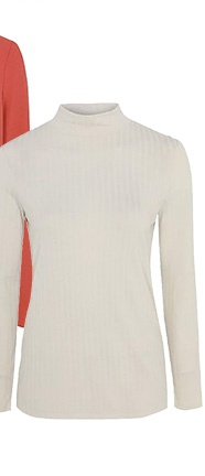 This cream roll neck top is made with lightweight ribbed material and can be worn for work or on days off