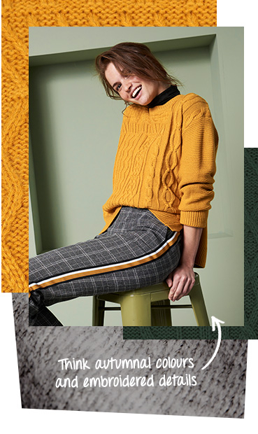 Layer up with fun colour, textures and prints with the latest knitwear