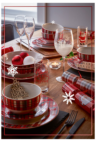Decorate the table with tartan prints and fab accessories from our Nordic tableware range