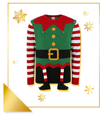 This hilarious novelty jumper will make you look just like one of Santa's little helpers