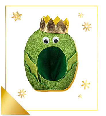 This hilarious Brussels sprout hat looks kingly with a golden crown
