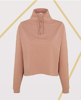 Off for an evening run? Stay warm in this pink sweatshirt with zip neck