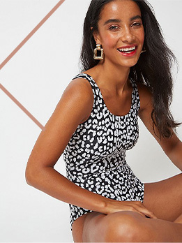 Embrace the animal print trend and head poolside in this monochrome swimsuit