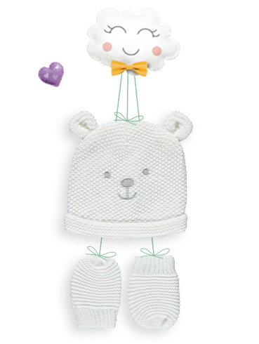 Keep your little one snug with a hat and gloves set