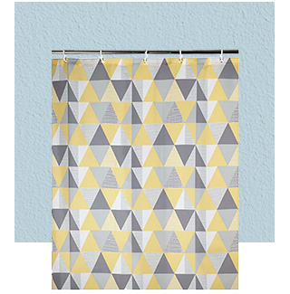 This shower curtain has a stylish contemporary geometric pattern