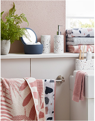 Add personality to the bathroom with patterned towels