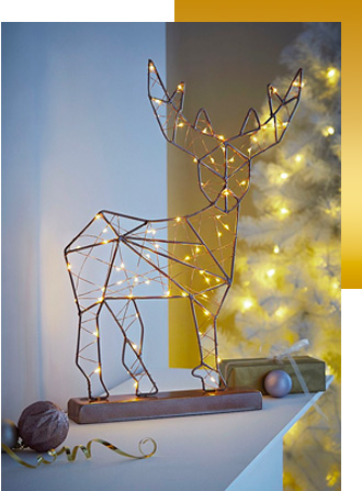 This wire stag LED light decoration will look cheery in your home
