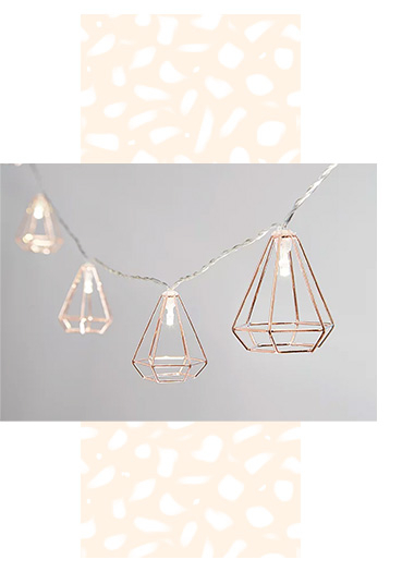 Create the perfect ambiance with our geometric string lights